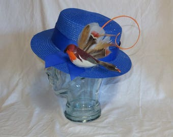 "Mary Poppins Hat- Blue Straw Hat Inspired by the New Film ""Mary Poppins Returns"""