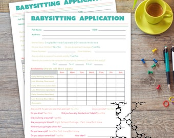 babysitting application form
