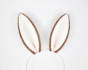 Rabbit Ears Hair Clips Fluffy Plush Dark Brown Bunny Ears