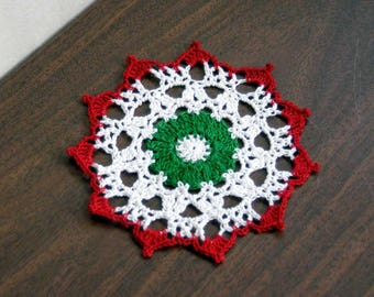 Little Christmas Gift Crochet Lace Doily, Holiday Table Accessory, Small Christmas Doily, Festive Home Decor, Gift for Her, 5 Inch Doily
