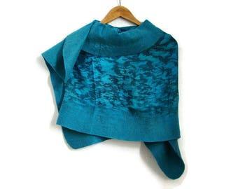 teal shawl, felted silk