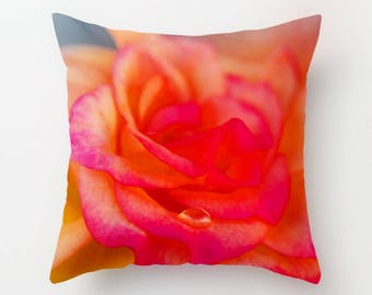Rose Home Decor, Pink and Orange Pillow Cover, Cushion Case, Victorian Floral Accent, Blush Botanical Art Decor, Peach Valentine's Day Gift