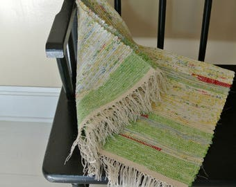 Cotton Rag Rug-Union #36 Rag Rug Loom-Hand Woven-Cottage Chic-Green/Yellow/Red