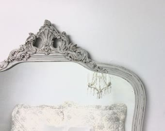 "ORNATE ANTIQUE MIRROR For Sale Solid Wood Mirror 32.5""x32"" Vintage White Baroque Rustic Vanity French Provincial Bedroom Square Framed"