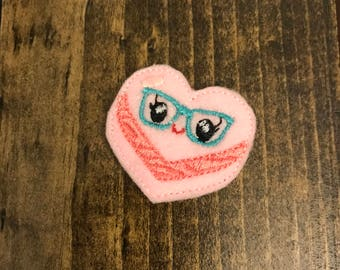 Planner Clip / Feltie / Magnet / Pin / Badge Reel Cover / Bow Centers - Hot Pink Heart