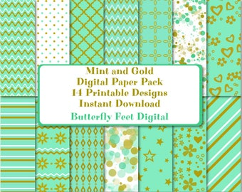 Mint and Gold Digital Paper Pack, 14 Printable Designs, Printable Party Paper, Scrapbooking, Card Making, Instant Download