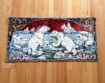 Vintage Maruzzella & Co. Italian Polar Bears on Ice Tapestry Wall Hanging Rug