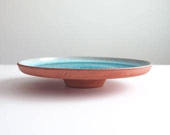 Cather Blue Drip Glaze Studio Pottery Mid Century Modern Art Pedestal Bowl