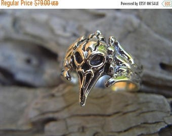 ON SALE Raven skull ring in sterling silver