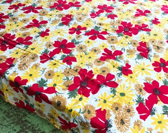 Vintage Tablecloth Red Yellow Brown Flower Tablecloth Bright Floral Tablecloth