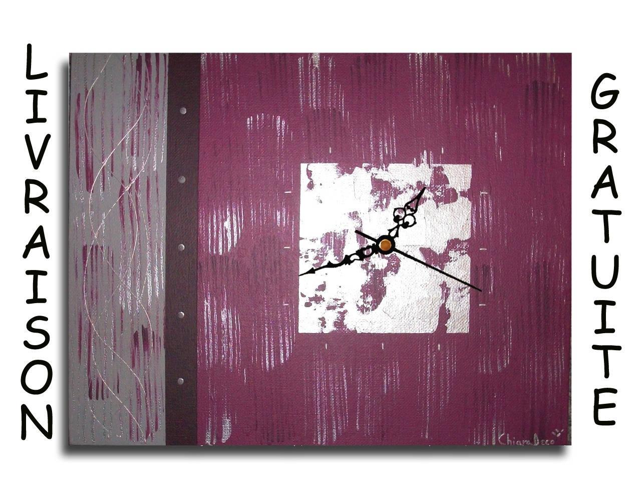 Tableau Toile Horloge Pendule Murale Prune Violet Gris