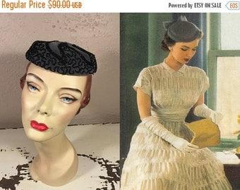 Anniversary Sale 35% Off It's In Here Somewhere - Vintage 1950s Gunmetal Grey Velvet Mini Pill Box Bibi Hat w/Black Seed Beads