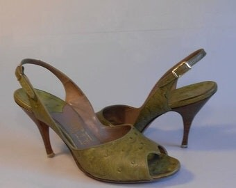 Anniversary Sale 35% Off Light Stepping Across Salerno - Vintage 1950s Avocado Green Ostrich Leather Slingback Pumps Heels - 7