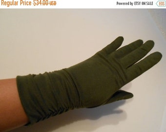 Anniversary Sale 35% Off Elegant Lady's Army - Vintage 1950s Olive Green Mid Arm Ruched Gloves - 6.5/7