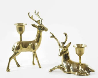 Vintage Brass Deer Candle Holders, Christmas Mantel Decor, Brass Candle Holder Pair, Deer Figurines