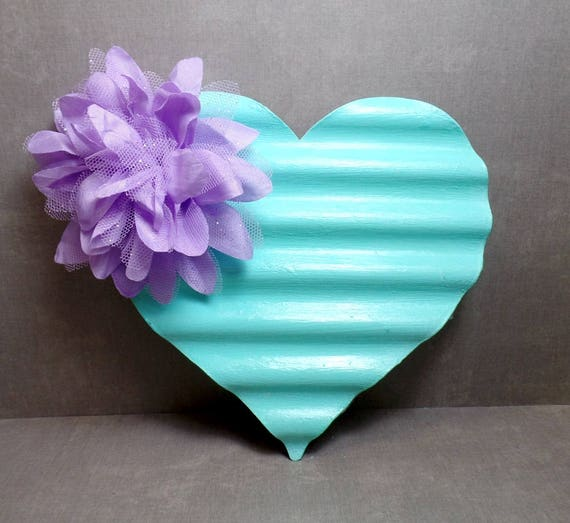 Blue & Purple Metal Heart Wall Art - Heart Wall Hanging - Shabby Chic Heart - Gift - Free US Shipping
