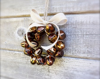 Fall Bell Wreath, Small Brown Acorns Bells Autumn Decoration