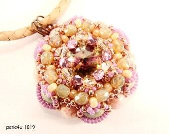 "DIY-MATERIAL-KIT - Necklace ""Floriana"" dark red-brown (K0041)"