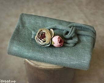 Baby Wrap and Baby Headband Set, Teal Jersey Wrap, Rose Flower Headband, Organic, Baby Girl Photo Prop, Newborn Props, Baby Halo