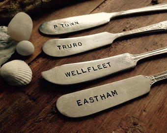 Vintage Silverware Cape Cod Butter Knife Cheese Marker Set Favorite Places Eastham P-Town Wellfleet Truro You Pick Four