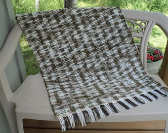 Hand Woven Rag Rug: Brown, White and Gold