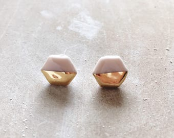 Blush and Gold Hexagon Earrings