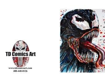 Spiderman Venom greeting card of original comic art marvel art,comics,super heroes, villains,marvel art,wall art, home decor,comic,movies