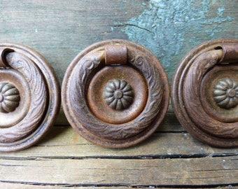 3 antique hardware drawer pull ornate wreath flower victorian handle salvage furniture cabinet restoration hardware