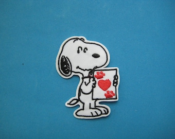 Iron-on Embroidered Patch Love from Snoopy 2.9 inch