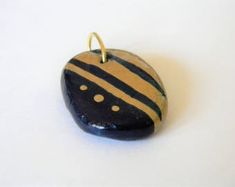 Hand Crafted Gold and Navy Cold Porcelain Pendant