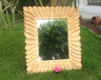 "TROPICAL BANANA LEAF Mirror 51"" tall x 43"" wide / Large Tropical Leaf Mirror / Banana Leaf Mirror Hollywood Regency Style Retro Daisy Girl"