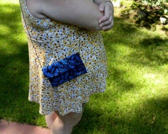 Blue Leaf Batik Hip Bag