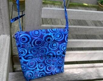 Purple Batik Cross body Bag with Adjustable Strap