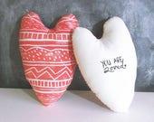 Custom Order for Jen. Black heart pillow with custom writing.