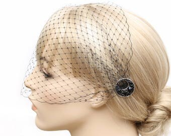 Black Birdcage Veil- Black Blusher- One-tier Blusher- Bandeau Veil- Bridesmaids Accessory