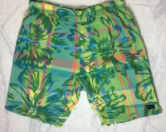1980's madras plaid tropical floral print Surf Board Shorts by TRIM Flower Patterned size medium blue green yellow all cotton surfer beach