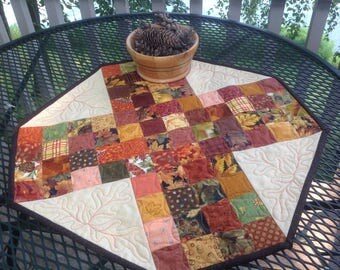 Autumn Ditzy Bits 24 inch quilted table centerpiece