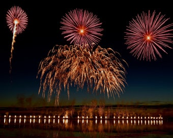 Fireworks  Photography - Fireworks -  Celebration - July 4th - Photo Art - Lopez Island - San Juan Islands - holliday - 16 X 24 - prints