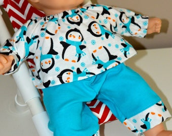 15 Inch Baby Doll Clothes Two Piece Flannel Pajama Set Penguin Print by SEWSWEETDAISY