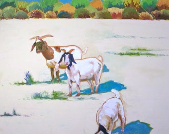 We Three Oil Painting- 36x36 Original on Canvas- Animal Painting, Landscape Painting, Goats