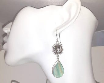 Summer Sale CONSTANTINE Ancient Roman Coin 925 Silver Roman Glass Earrings