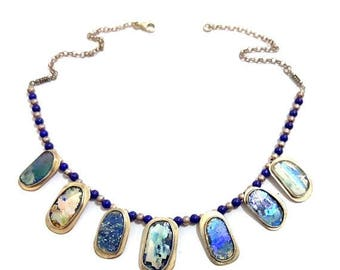 Summer Sale Stunning One Of A Kind  925 Silver Hand Made colorful Roman Glass Necklace with Lapis beads