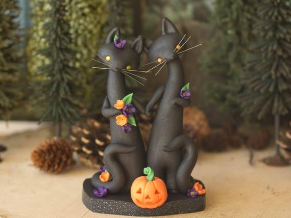 Halloween Wedding Cake Topper - Black Cat Wedding by Bonjour Poupette