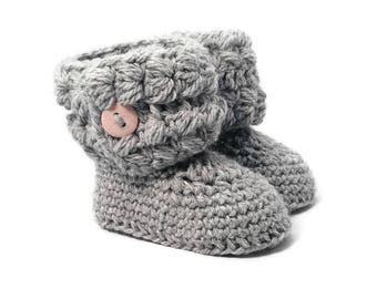 Girls Cozy Cuff Baby Booties in Grey Merino Wool