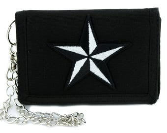 White Nautical Star Tri-fold Wallet Alternative Clothing Tattoo Rockabilly Symbol - YDS-EMPA-048-WHITE-Wallet