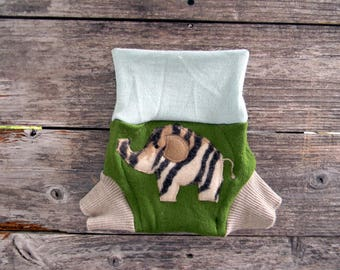 Upcycled Merino Wool Soaker Cover Diaper Cover With Added Doubler Green/ Mint Green/ Beige With Elephant Applique SMALL 3-7M Kidsgogreen