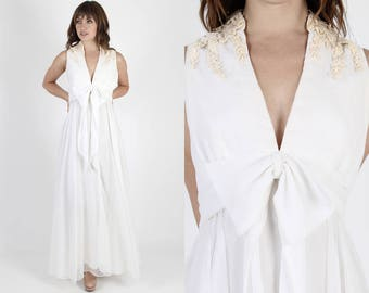 Chiffon Dress White Dress White Wedding Dress Bridesmaids Dress Long Dress Lace Dress Vintage 70s Bohemian Sheer Crochet Maxi Dress M