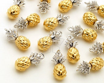 PD-2112-GS / 2 Pcs - Dainty Pineapple Charms Pendant, Tiny Two-Tone Pineapple Charms, Matte Gold&Silver Plated Brass / 5mm x 13mm