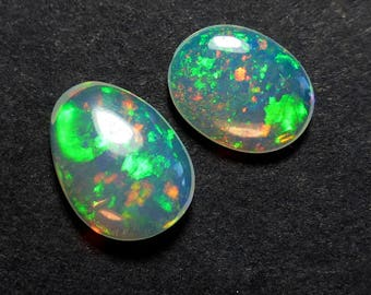 Ethiopian Opal Cabochons - 7 x 5 mm - Free Form Pair - PIN FIRE - Earrings - Natural - Opal  - Supplies - RT48