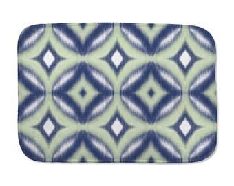 Printed Ikat Bath Mat, Circle Pattern Bath Mat, Navy Blue, Green, Bathroom